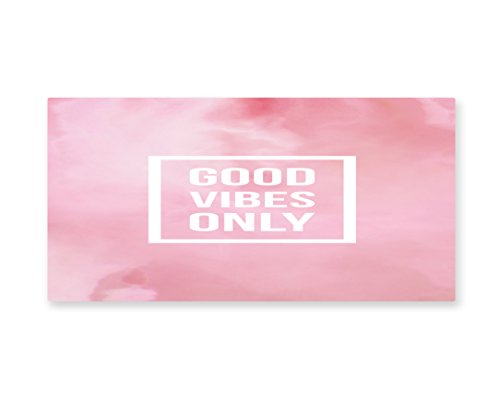 Lunarable Motivational Wall Art, Inspiring Modern Pop Culture Quote on Pastel Backdrop Good Vibes Only, Gloss Aluminium Modern Metal Artwork for Wall Decor, 23.5 W X 11.6 L Inches, Pale (Easy Pop Culture Costumes)