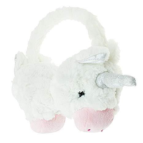 Kids Girls EarMuffs Unicorn soft white soft plush Thermal