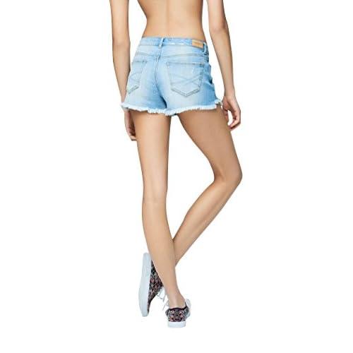 635ef524ad high-quality Aeropostale Women's High-Waisted Light Wash Denim Cutoff  Shorty Shorts
