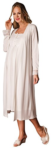 Bondy Women's 2 Piece Maternity and Nursing Nightgown Pajama Set featuring Dress With Lace and Pearl Details and Matching Robe With Belt (Large, Ivory) (2 Set Piece Maternity)