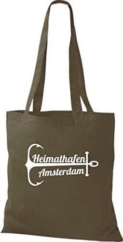 shirtinstyle Bolsa de tela bolsa de algodón heimathafen Amsterdam Oliva