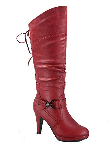(TOP Moda Page-65 Women's Sexy Back Lace Up Side Zipper Low Heel Platform Knee High Boots Shoes (6 B(M) US, Red) )