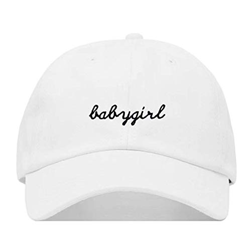 (Babygirl Hat, Embroidered Baseball Cap, 100% Cotton, Unstructured Low Profile, Adjustable Strap Back, 6 Panel, One Size Fits Most (Multiple Colors) (White))