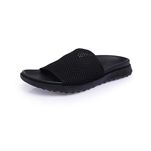 Zapatillas 3 Color Wangcui De Ocasionales 40 Sandalias Negras Los Cómodas Libre EU De Al 2 Hombres Aire Negro Los Verano De tamaño Negro Cuero del Deslizadores qqZ0gU