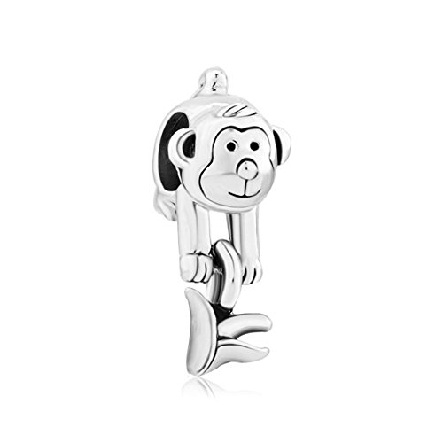 Third Time Charm Cute Monkey With Banana Charm Beads For Bracelets