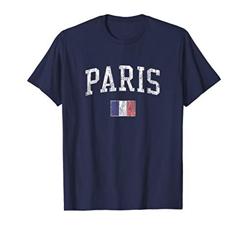 Paris France T-Shirt Vintage Sports Design French Flag Tee ()