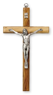 16cm High Olive Wood Wall Hanging Crucifix Cross with Silver Metal Corpus 10654