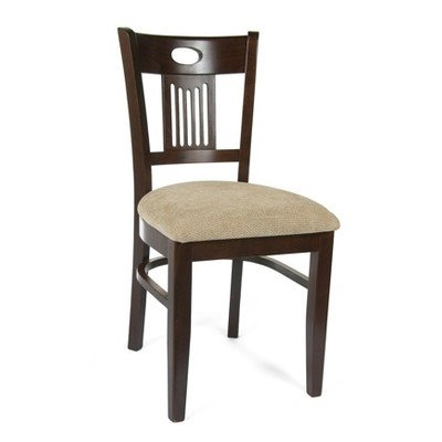 Violin Side Chair [Set of 2] Finish: Walnut, Upholstery: Wheat Microfiber