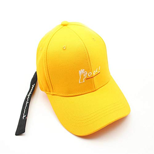 Letter Print Cotton Embroidered Baseball Caps with Adjustable Belt, One Size Yellow