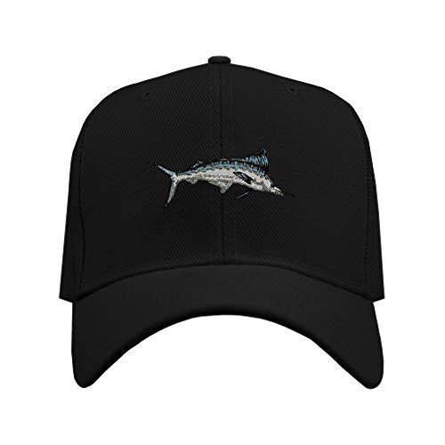 Baseball Hat White Marlin Embroidery Animal Name Acrylic Structured Cap Hook & Loop - Black, Design Only