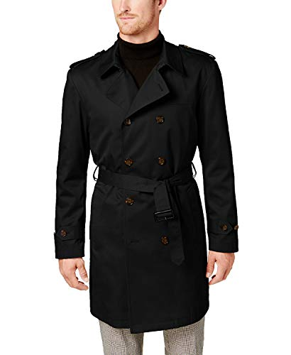 3/4 Length Raincoat - Ralph Lauren Men's LOWRR2JT0002 Double Breasted 3/4 Length Belted Trench Raincoat- Black - 46S