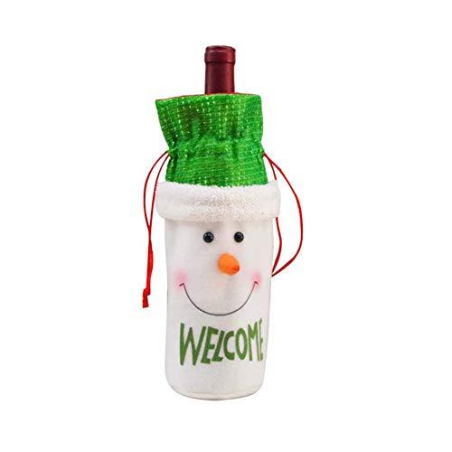 Fashion Toys-3Pcs Cloth Reindeer Snowman Santa Claus Wine Bottle Cover Christmas Party Decor - ()