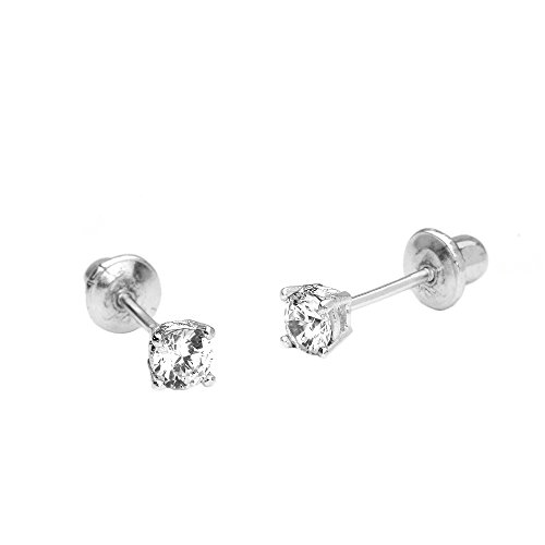 14k White Gold 3mm Basket Round Solitaire Cubic Zirconia Children Screw Back Baby Girls Earrings - Childrens 3mm Gold Earrings