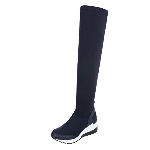 Zapatos para mujer Botas Plataforma Overknees Ital-Design Bleu foncé