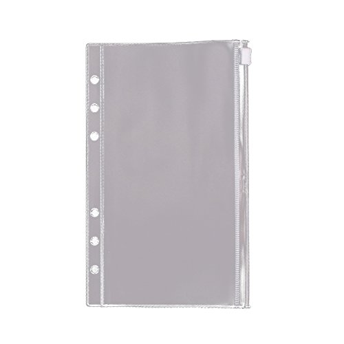 EvZ Zip Closure Envelope for 7 Inches Journal Organizer Diary A6 Notepad Notebook 6 Holes Ring Binder, Flexible Transparent, Set of 3Pcs