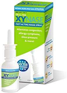 Xynase Natural Saline Nasal Spray with Xylitol - Relieves Nasal Congestion, Allergy Symptoms, Sinus Pressure (0.75 fl oz) 1 Pack All Natural Safe for Children