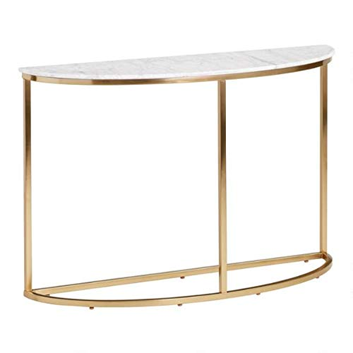 (Half Round White Marble Milan Console Table)