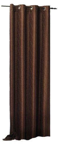 Thermogardine Übergardine blickdicht Vorhang Polar Fleece Gardine Ösen, Kräuselband oder Schlaufen B/H ca. 140x245 cm Farbwahl #373 (Ösen braun)