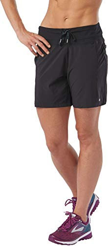 Women's Inspiration 7-inch Running Shorts with Zipper Back Pocket | Use for Gym, Workouts, Jogging, Sports, Black, XS