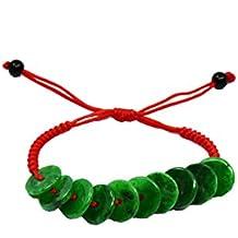 """Rolling in Money Elegant Green Jade Bracelet, 6-10"""" Jade beads 12 mm-- Feng Shui Jewelry"""