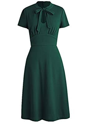 Wellwits Women's Keyhole Bow Tie Front 1940s Vintage Collared Dress