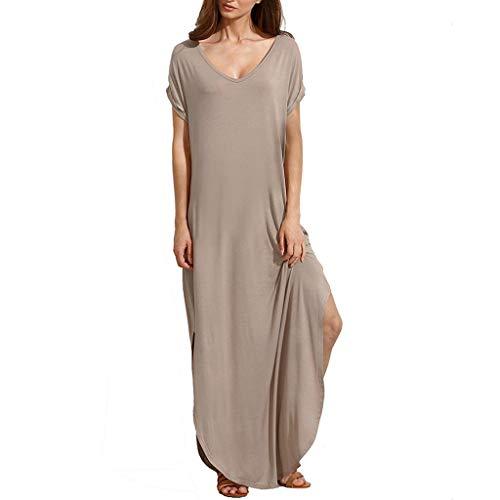 (NEARTIMEWomen Long Maxi Dress-Ladies Casual V-Neck Solid Color Blouse Dress Pockets Split Hem Beach Loose Dress)