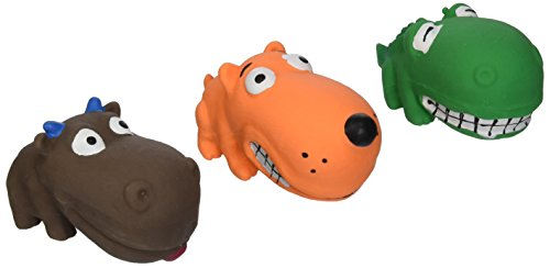 (3 Pack) Multipet Squeaky 3' Mini Latex Animal with Big Head Dog Toys, Assorted