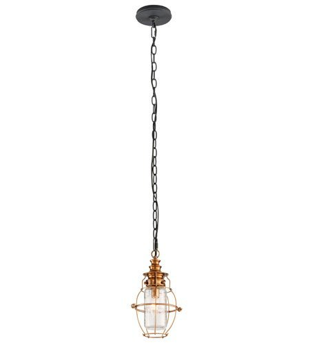 Outdoor Pendant 1 Light With Aged Brass with Forged Black Accents Finish Solid Brass Material Candelabra 13 inch Long 60 Watts
