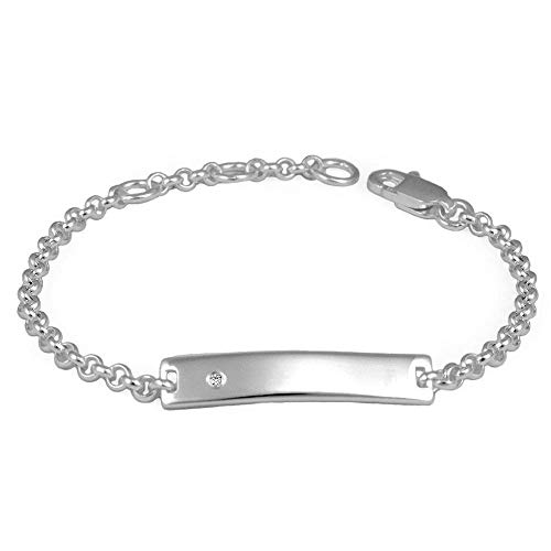 Little Girl & Boy Jewelry - Silver Diamond ID Bracelet With Adjustable Rolo Chain With Engraving (Rolo Chain Baby)