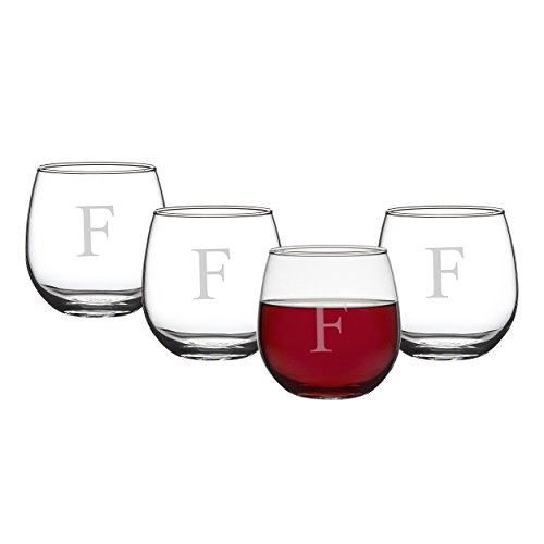 Cathy's Concepts Personalized 16.75 oz. Stemless Red Wine Glasses, Set of 4, Letter F