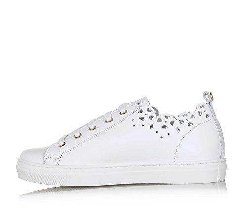 Twin-Set Weißer Schuh mit Schnürsenkeln Aus Leder, phantasievoll und Modisch, Weiße Schnürsenkel, Mädchen, Damen-34