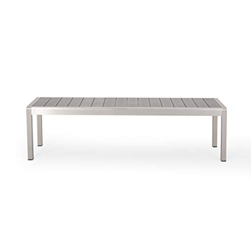 Great Deal Furniture Odelia Outdoor Modern Aluminum Dining Bench with Faux Wood Seat, Gray and Silver