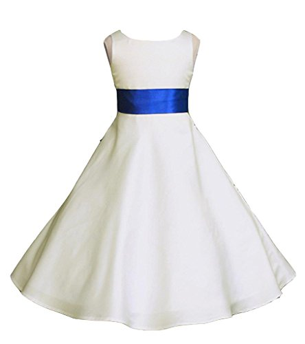 Wedding Pageant Ivory A-Line Matte Satin Jr. Bridesmaid Flower Girl Dress ()