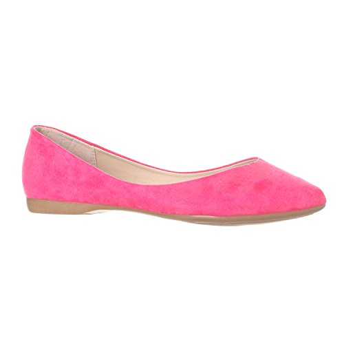 Riverberry Women's Ella Basic Closed Pointed Toe Ballet Flat Slip On Shoe, Fuchsia Suede, - Shoe Fuchsia Suede