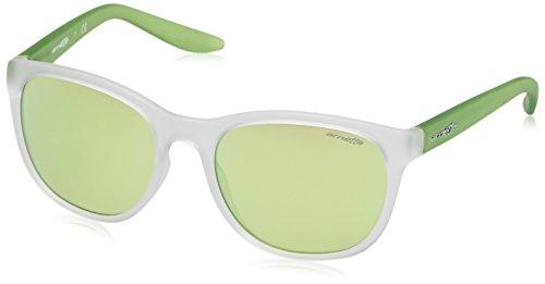 Arnette Unisex-Erwachsene Sonnenbrille 0AN4228 23888N, Weiß (Matte Clear/Lightgreenmirrorgreen), 55