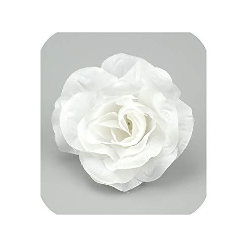 10pcs 9cm Large Rose Artificial Silk Flower Head Home Wedding Party Decoration,White]()