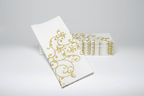 SimuLinen Dinner Napkins - GOLD & WHITE - Decorative Cloth Like & Disposable Large Napkins - Soft, Absorbent & Durable (19