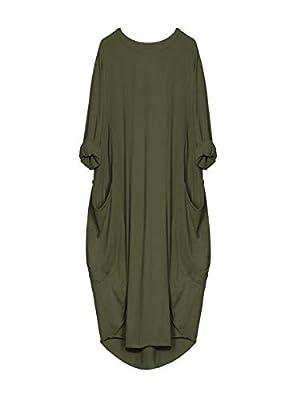 iLUGU Neutral Knee-Length Dress for Women Long Sleeve Boatneck Solid Color Pocket Long Tops Plus Size