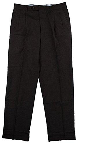 Kirkland Mens Pleated Italian Wool Dress Slacks (36W x 30L, Brown Check)