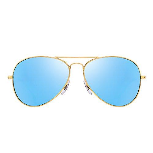 Retro Polarized Aviator Sunglasses Flash Tinted Lens Eyeglasses for Women Men UV400 (Gold Alloy / Polarized - Blue Aviators Reflective