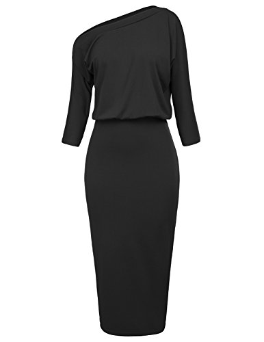 Women's Elastic Waist One Shoulder Off Work Party Pencil Dress Size XL Black