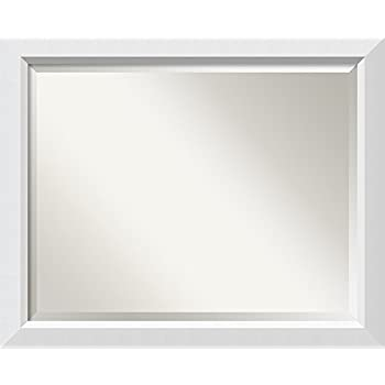Framed vanity mirror bathroom mirrors for - White wood framed bathroom mirrors ...