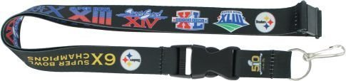 (NFL Pittsburgh Steelers Dynasty Lanyard, 24-inches, Black)