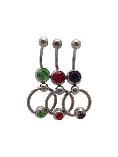 (BodyJewelryOnline Set of 3 Belly Rings Door Knocker Slave Design 14G)