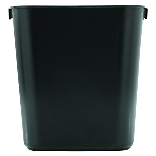 Rubbermaid Commercial 295500BK Deskside Plastic Wastebasket, Rectangular, 3 1/2 gal, - Soft Molded Plastic Black Wastebaskets