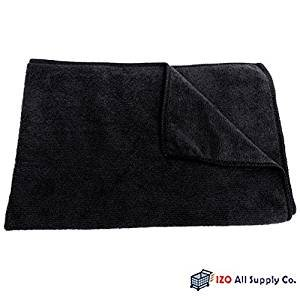 Microfiber Towel Cleaning Cloths, Highly Absorbent, 16x24 , 6-Pack, All-Purpose Auto Detailing, Car Polishing, Auto Interior & Exterior - Scratch Resistant Fabric Material (Black)