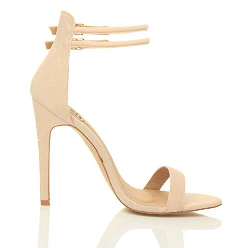 EKS Damen Knöchelriemen Schnalle Partei Stiletto High Heel Sandalen Riemchen Schuhe Nackt Matt