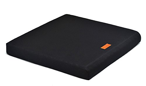 The Upgrade Seat, 100% Natural Latex Foam Portable Chairpad for Office, Autos, Wheelchairs with Cotton Cover (Large 18 x 16 x 2 - Black)