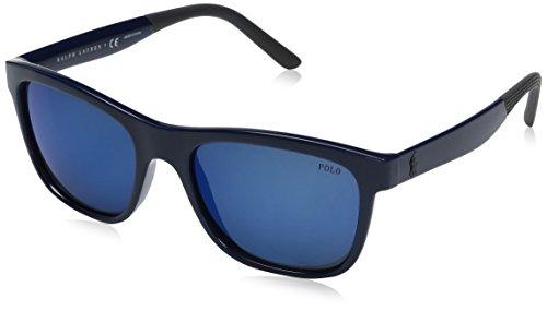 Polo Ralph Lauren Men's Injected Man Wayfarer Sunglasses, Shiny Navy Blue, 55 - Ralph Lauren Blue Sunglasses