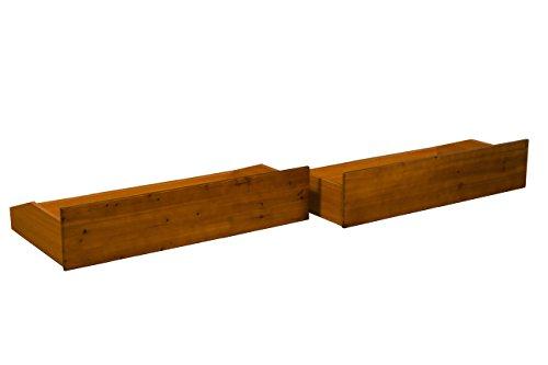 All Wood Storage Drawer Pair Fits Underneath Futon and Bed Frames, Queen/King-size, Medium Oak Drawer Finish - Oak Set Futon Frame